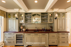 walnut wood countertop, wood countertop, wood wetbar, sinks in wood counters,